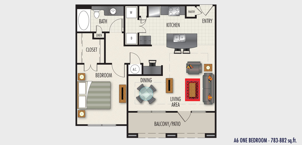 783 sq. ft. to 882 sq. ft. A6 floor plan
