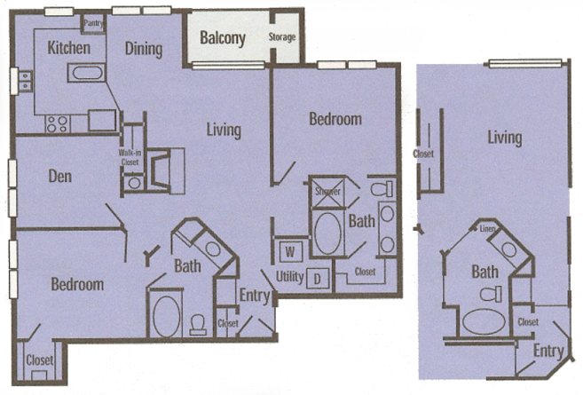1,302 sq. ft. C1 floor plan