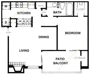 675 sq. ft. A5 floor plan