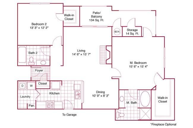 1,243 sq. ft. B41 floor plan
