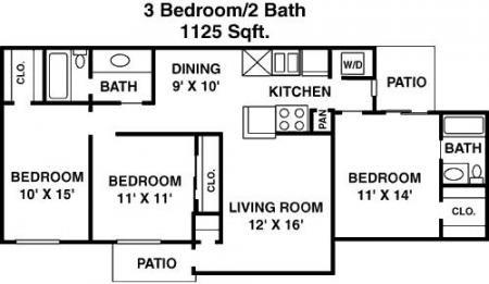 1,120 sq. ft. D floor plan
