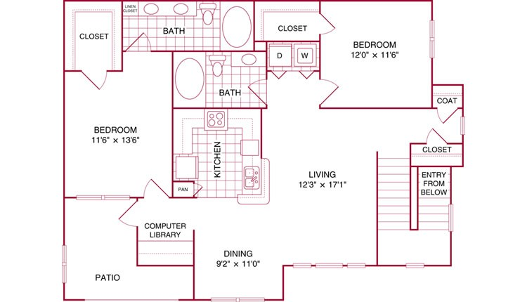 1,121 sq. ft. J floor plan