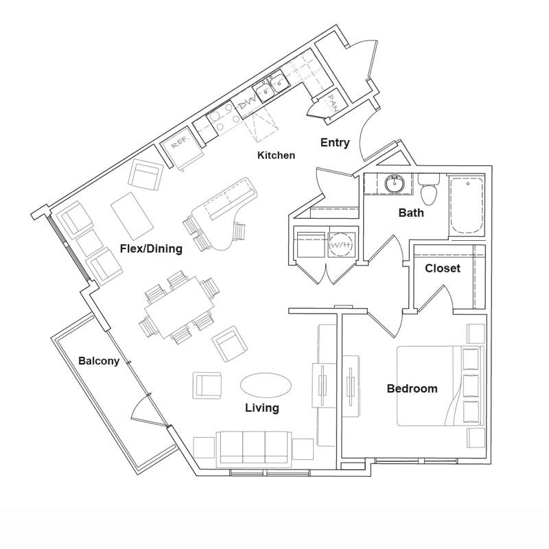 915 sq. ft. Pecos floor plan
