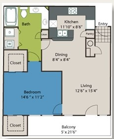 804 sq. ft. A2 floor plan