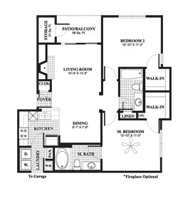 955 sq. ft. to 1,034 sq. ft. Dogwood floor plan