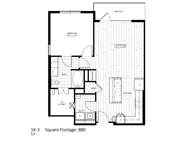 880 sq. ft. 1K-3 floor plan