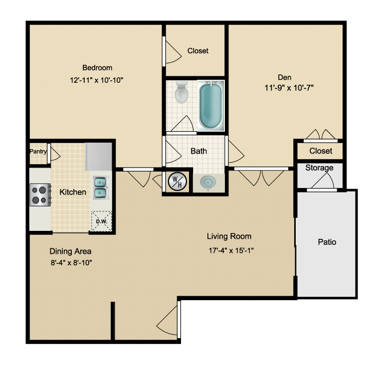 880 sq. ft. C floor plan