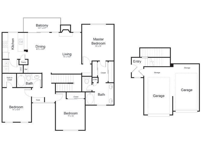 1,463 sq. ft. Rio Grande floor plan