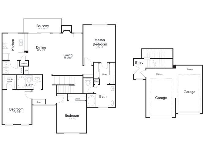 1,463 sq. ft. Rio Grande floor plan
