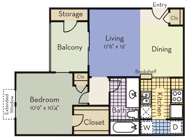 580 sq. ft. Regent floor plan