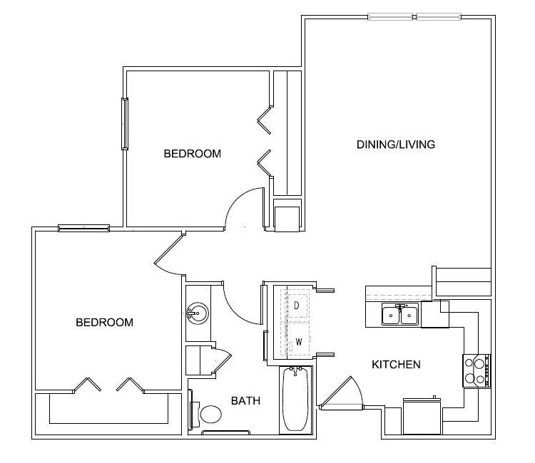 835 sq. ft. Sinatra 60% floor plan