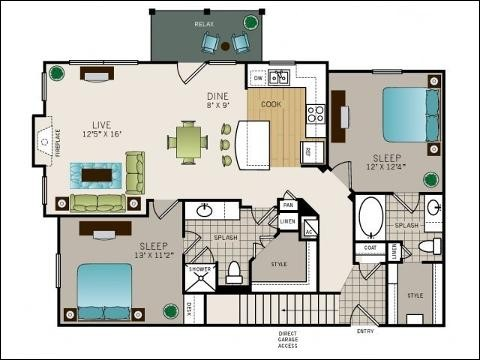 1,124 sq. ft. to 1,189 sq. ft. B2 floor plan