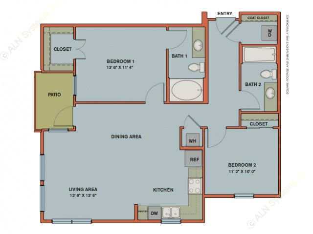 1,021 sq. ft. B1 floor plan