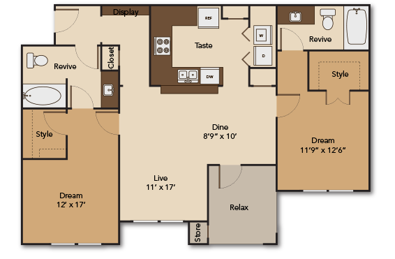 1,167 sq. ft. GARDEN B1 floor plan