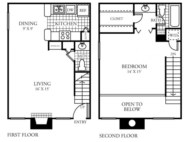 833 sq. ft. D floor plan