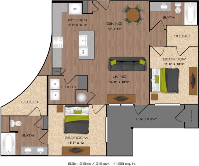 1,199 sq. ft. B3C floor plan