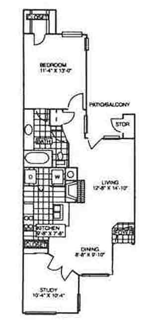 825 sq. ft. Blake floor plan