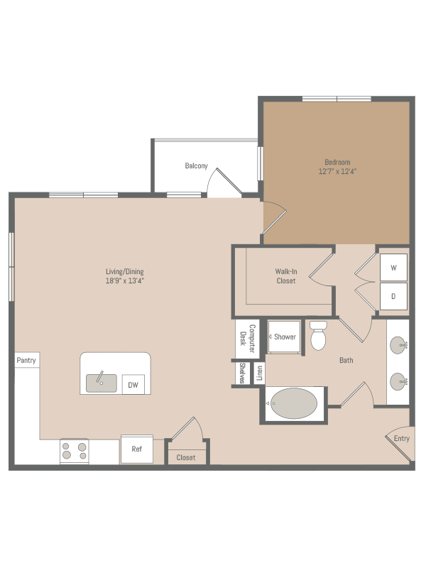 956 sq. ft. A4.1 floor plan