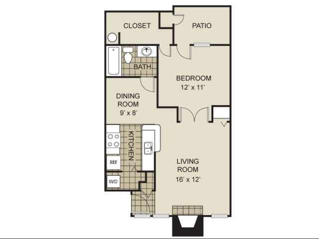 704 sq. ft. A5-C floor plan