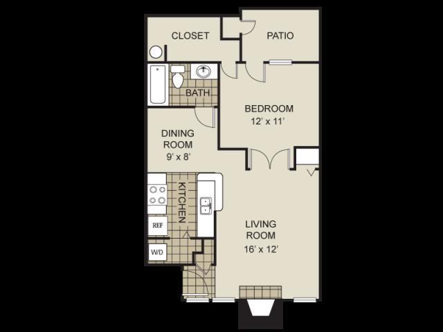 704 sq. ft. A5-C floor plan