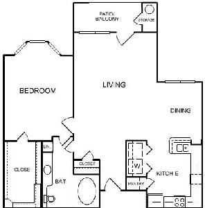 829 sq. ft. A3 floor plan