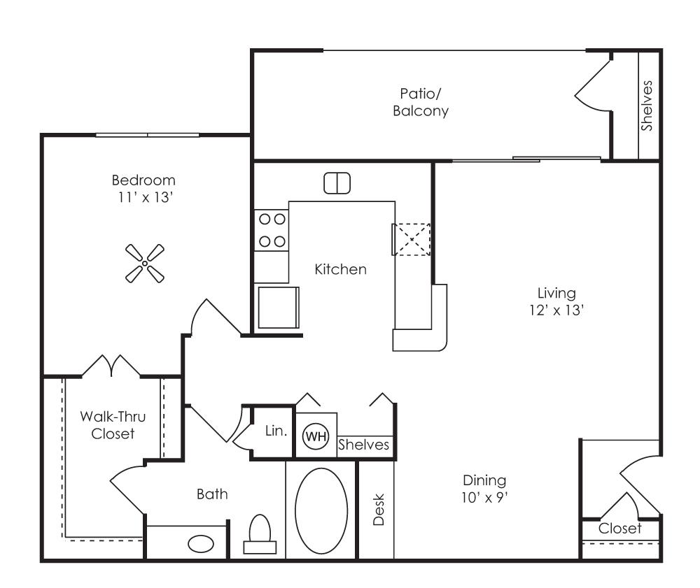 767 sq. ft. Barcelona (A2) floor plan