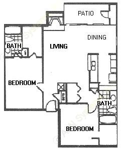 1,012 sq. ft. F21 floor plan