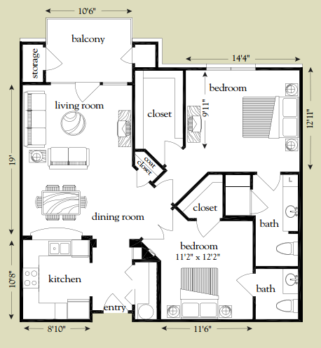1,051 sq. ft. San Gabriel floor plan