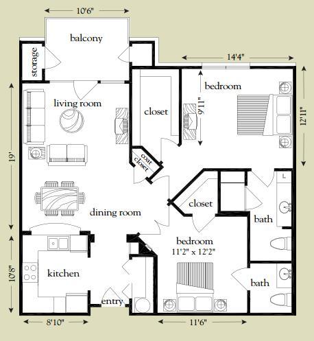 1,051 sq. ft. San Gabriel floor plan