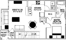 798 sq. ft. 60% floor plan