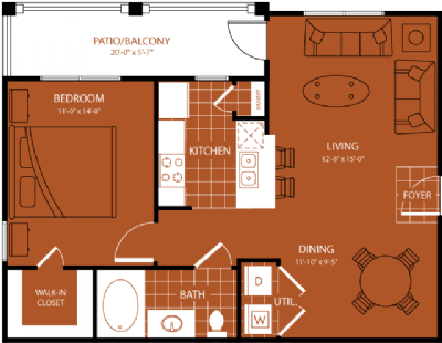 733 sq. ft. Merion floor plan