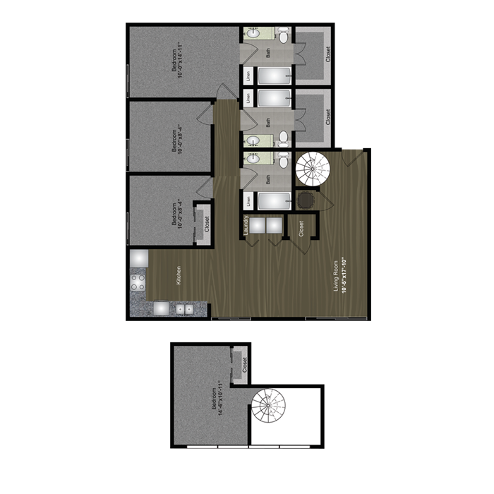 1,543 sq. ft. ACL Loft floor plan