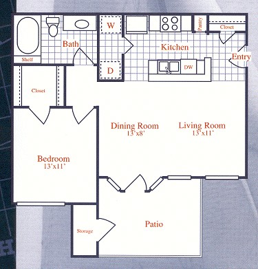 646 sq. ft. SCHOONER floor plan