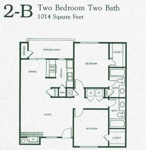 1,014 sq. ft. 2B floor plan
