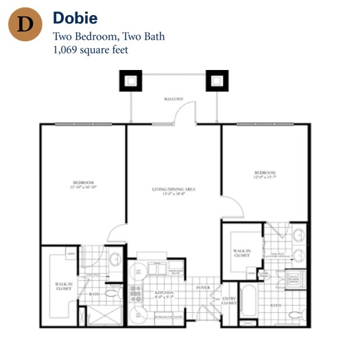1,069 sq. ft. Dobie floor plan