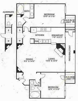 1,209 sq. ft. B2 floor plan