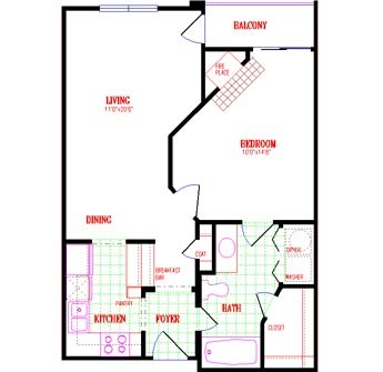 646 sq. ft. floor plan
