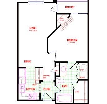 646 sq. ft. floor plan