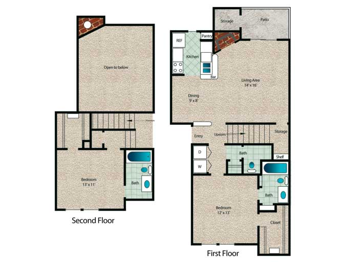 1,151 sq. ft. Bradford floor plan