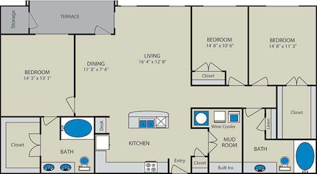 1,565 sq. ft. Rio Grande C1 floor plan