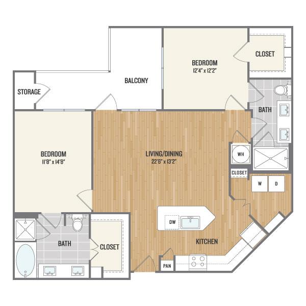 1,129 sq. ft. C2 floor plan