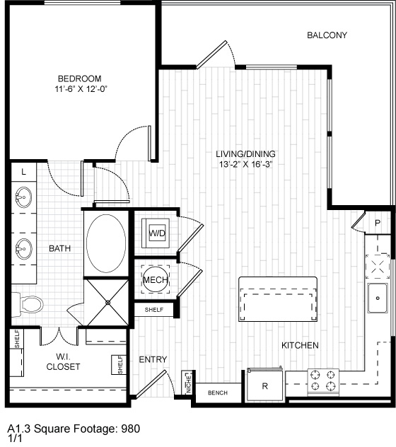 978 sq. ft. A10 floor plan