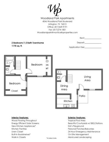 1,170 sq. ft. floor plan