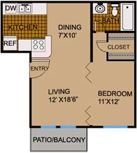 432 sq. ft. E1 floor plan