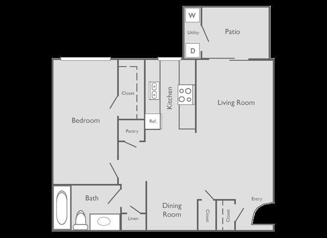 720 sq. ft. RAPHAEL floor plan
