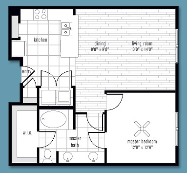 796 sq. ft. to 921 sq. ft. O floor plan