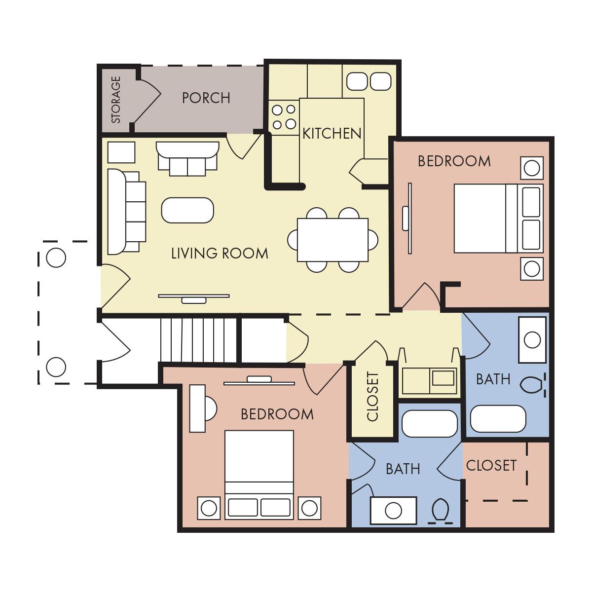 980 sq. ft. B-60% floor plan