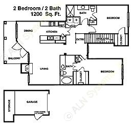 1,201 sq. ft. B3 floor plan