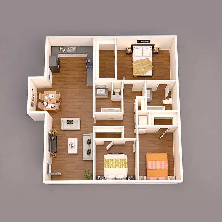 1,350 sq. ft. C1 floor plan