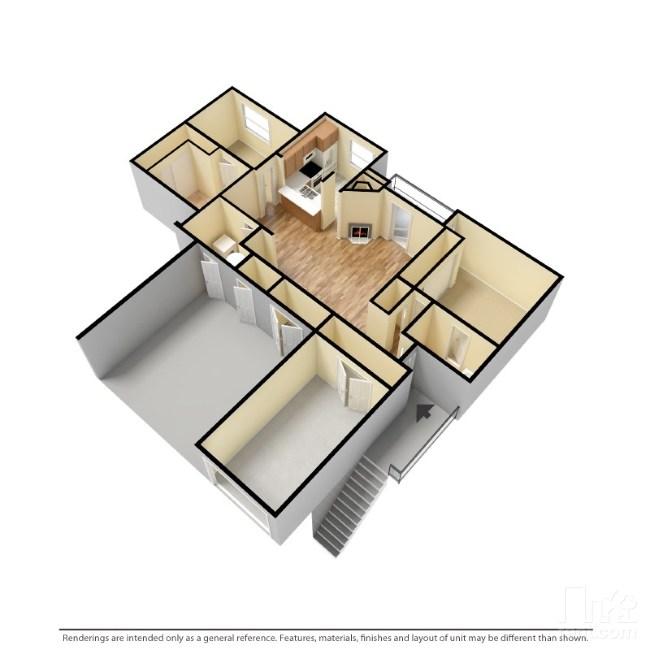 1,140 sq. ft. B1-G floor plan